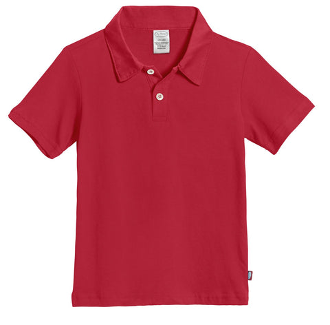City Threads Boys 100    Cotton Polo Uniform Shirt Modern Fit, Made in USA 10 Uniform Red