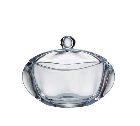 "Barski - European Quality Glass - Lead Free - Crystalline - Oval - Covered - Candy Dish - Jewelry Box - 7 "" Length - Made in Europe"