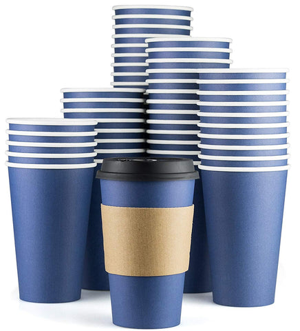 Disposable Coffee Cups With Lids - 16 oz To Go Coffee Cups (90 Set) With Sleeves and Tight Lids Prevent Leaks. Paper Hot Cup Holds Shape With Hot, Cold Drinks. Insulated to Protect Fingers from Heat! Midnight Blue 90
