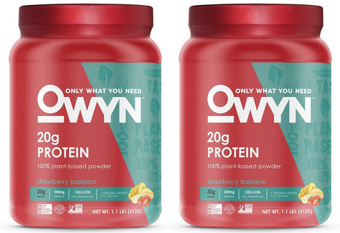 OWYN 100% Plant-Based Vegan Allergen-Friendly Protein-Powder, 28 Servings, 2 Count (Strawberry Banana) Strawberry Banana
