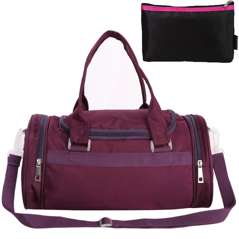 kilofly Girls Ballerina Ballet Dance Duffel Crossbody Bag + Cosmetic Pouch Set purple