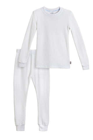 City Threads Boys' Thermal Underwear Long John Set - Made in USA 14 White W/ Baby Blue Stitch