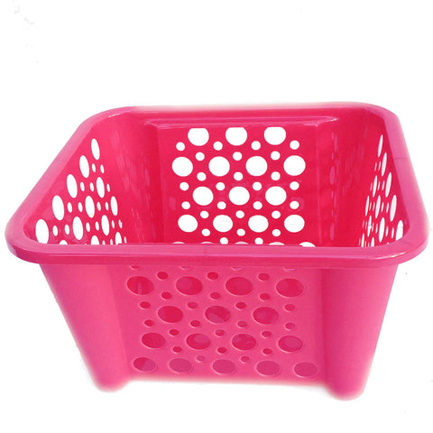 Storage Baskets for Shelf Book Bins for Classroom Pink,1 Plastic Basket for Organizing Pantry Organization Bins for Cube Organizer Shelves Kitchen Countertop, Fruit, Toy, Lego Blocks Art Craft 1