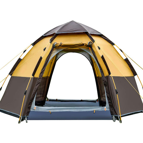 Dura-Tent, Family Camping Tents Accommodate 5-6 Person, Waterproof and Automatic Instant Pop Up (Easy Setup) Tent, 4 Seasons to Use for Outdoor, Hiking, Camping, Travel, Beach, Family Days [Large] Brown