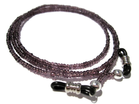 ATLanyards Purple with Black Grips Eyeglass Holder - Seed Bead Eyeglass Chain