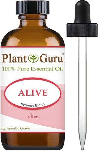 Alive Essential Oil Blend 4 oz 100    Pure, Undiluted, Therapeutic Grade. Anxiety, Depression, Relaxation, Boost Mood, Uplifting, Calming, Aromatherapy, Diffuser.