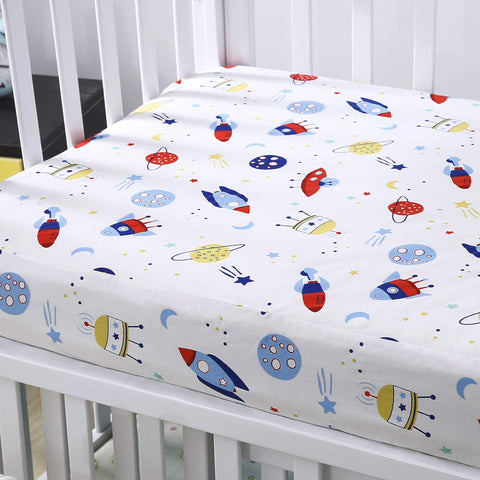 Cok Fitted Crib Sheet, 100    Cotton, Breathable Cozy and Hypoallergenic Baby Crib Sheet for Standard Crib and Toddle Mattress. (1 Pack, Planet) 1 pack