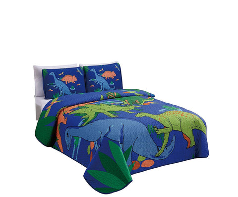 Elegant Home Multicolors Blue Green Orange Dinosaurs Design 3 Piece Coverlet Bedspread Quilt for Kids Teens Boys # New Dinosaur (Full Size) Full Size