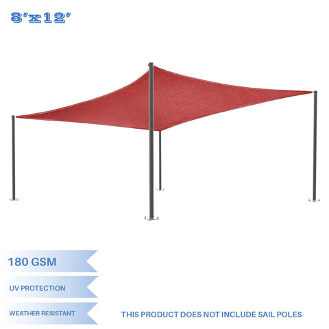 E&K Sunrise 8' x 12' Red Rectangle Sun Shade Sail Outdoor Shade Cloth UV Block Fabric,Curve Edge-Customized 8' x 12'