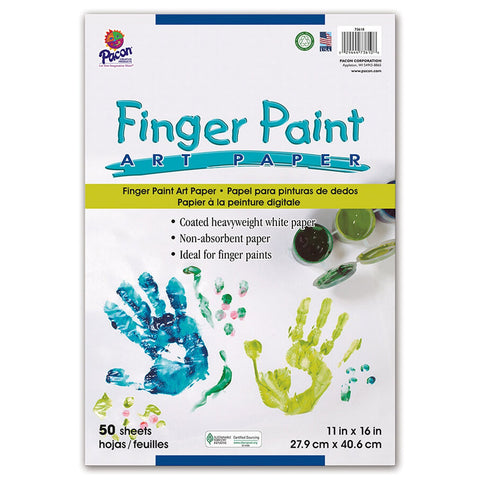 Pacon PAC73610 Finger Paint Paper, 11  x 16 , White, 50 Sheets