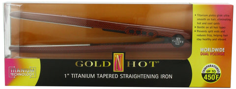 Gold 'N Hot Professional Titanium Tapered Straightening Iron, 1 Inch