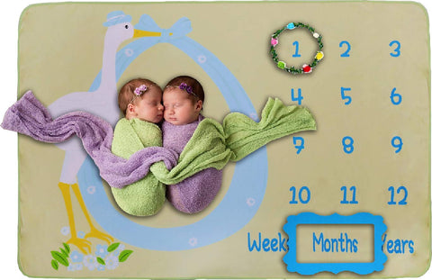 Double Sided Baby Milestone Blanket- Monthly Milestones Photo Props Backdrop for Newborn Boy Girl Photography, Calendar Fleece Blankets for Infant Growth Memory Pictures, Baby Shower Gifts (Green) Green