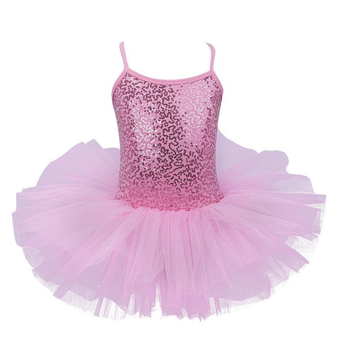 TiaoBug Kid Girls Sequins Straps 3D Flowers Ballet Dance Gymnastics Leotard Tutu Dress Princess Ballerina Costumes 4 Pink