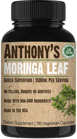 Anthony's Moringa Leaf Supplement - 180 Capsules - 1500mg Per Serving - Green Superfood, Pure Leaf Powder, Vegan Friendly, Made in USA Moringa 180 Capsules