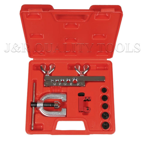J&R Quality Tools Auto Double Flaring Copper Aluminum Soft Steel Brake Line and Brass Tubing Tool Kit