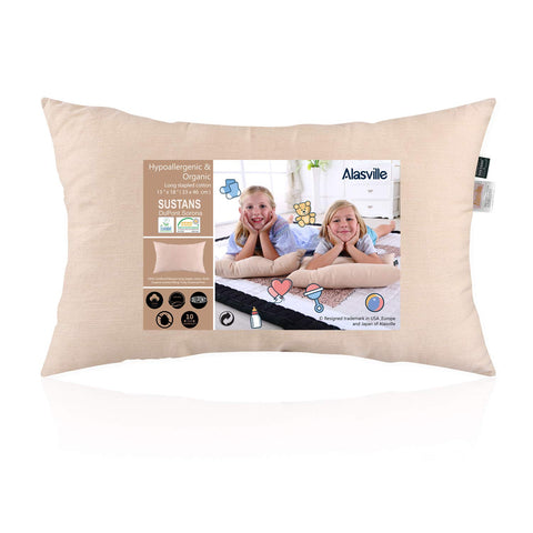 Soft 100    Organic Cotton Toddler Pillow - ALASVILLE Natural Breathable Hypoallergenic Sleeping Pillows for Kids/Baby/Children, Pillow Only - 13  x 18  Natural Cotton