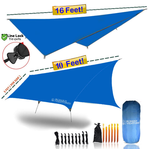13 Foot Rain Fly for Hammock –Light Weight, Diamond-Ripstop Polyester, Hammock Rainfly- 2000 PU Backpacking Tarp, Waterproof Eno Rain Cover– Rainfly Tent Tarp 10 Foot Butterfly (Sky Blue)