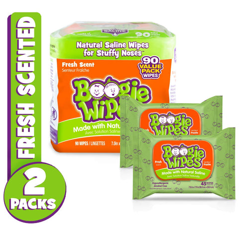 Boogie Wipes, Wet Nose Wipes for Kids and Baby, Allergy Relief, Soft Natural Saline Hand and Face Saline Tissue with Aloe, Chamomile and Vitamin E, Fresh Scent, 45 Count (Pack of 2)