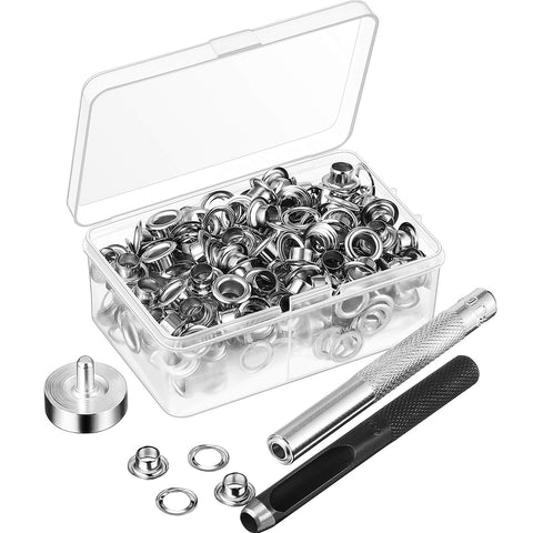 Pangda Grommet Tool Kit, Grommet Setting Tool and 100 Sets Grommets Eyelets with Storage Box (1/4 Inch Inside Diameter) 1/ 4 Inch Inside Diameter