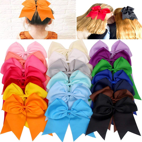 "20Pcs 7"" Large Cheer Bows for Girls Ponytail Holder Satin Cheerleading Bows Elastic Hair Tie Bands for Baby Girls School Colleage Teens Senior Cheerleader 20pcs hair bows"