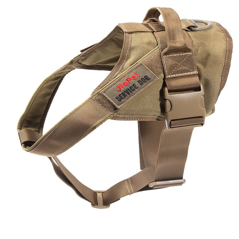 JIEPAI Tactical Dog Harness Military Training Patrol K9 Service Dog Vest Adjustable Working Dog Vest with Handle for Small Large Dogs Coyote Brown