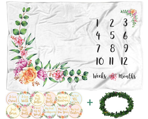 Baby Monthly Milestone Blanket with 12 Stickers | Large 60 x40  Month to Month Age Blankets | Infant Girl Newborn Photo Prop, Soft Photography Background Blanket, Best Baby Shower Gift for New Mom Floral
