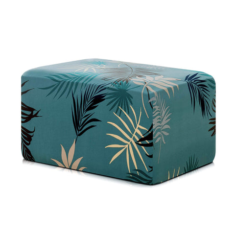Subrtex Printed Ottoman Slipcover Stretch Ottoman Protector Removable Rectangular Footstool Cover (Oversize, Green)