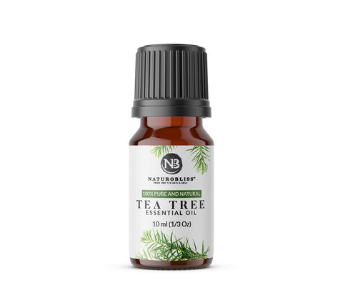 NaturoBliss 100    Pure, Undiluted Tea Tree Essential Oil, Therapeutic Grade, 10ml (1/3 oz)- Perfect for Hair Growth, Scalp Dandruff, Acne, Aromatherapy and Relaxation
