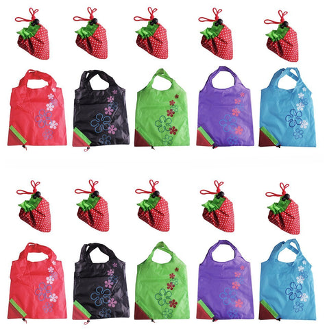 JASSINS Reusable Grocery Bags, Set of 10 Ripstop Shopping Bags with Pouch Large Recycle Gift Bags (10 Pack) 10 Pack