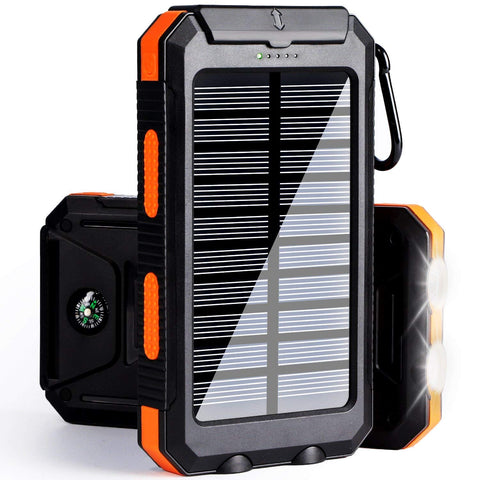soyond Solar Power Bank Solar Charger 10000 mAh Portable Solar Battery Charger Dual USB Waterproof 2 Led Light Flashlight with Compass for Camping Outdoor for Smartphones (Orange) Orange