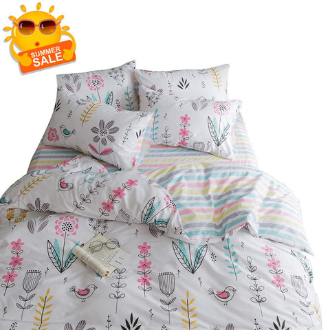 BuLuTu Floral Bird Print Pattern Girls Duvet Covers Queen White Premium Cotton Spring Blossom Colorful Reversible Kids Bedroom Comforter Cover Full Bedding Sets Zipper for Teen Toddler,NO Comforter Full/Queen Kawaii
