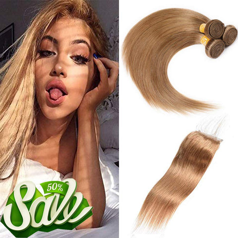 #27 Straight Hair Bundles With Lace Closure 9A Brazilian Virgin Human Hair Free Part Closure With 3 Bundles Remy Hair Weft 100% Unprocessed Hair Weave Blonde Hair Extensions (12 14 16+10, 27)