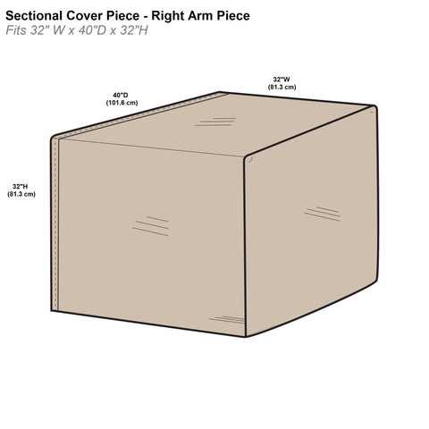 Protective Covers Inc. Modular Sectional Sofa Cover, Right Arm Piece, 32 W x 40 D x 32 H, Tan - 1254-TN