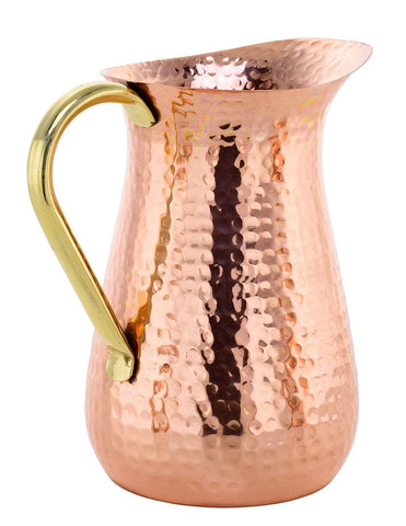 100% Copper Water Jug Pitcher - Copper Pitcher for Ayurveda Health Benefit - Copper Pitcher w/Copper Handle, Pure 100% Hammered Vessel, Heavy Duty Copper Jug, Handmade