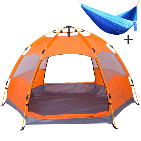 XINQIU 2-3 Person Family Camping Tent, Waterproof Hexagon Automatic Tent with Rain Cover, Convenient to Fishing Hiking and Beach Travel Hammock Hexagon Tent Orange