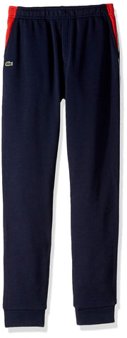 Lacoste Boy Fleece Athleisure Track Pant with Side Piping 16YR Navy Blue/Salvia