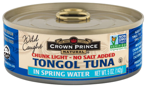 Crown Prince Natural Chunk Light Tongol Tuna in Spring Water, No Salt Added, 5 Ounce Cans (Pack of 12) Tongol in Spring Water, No Salt Added