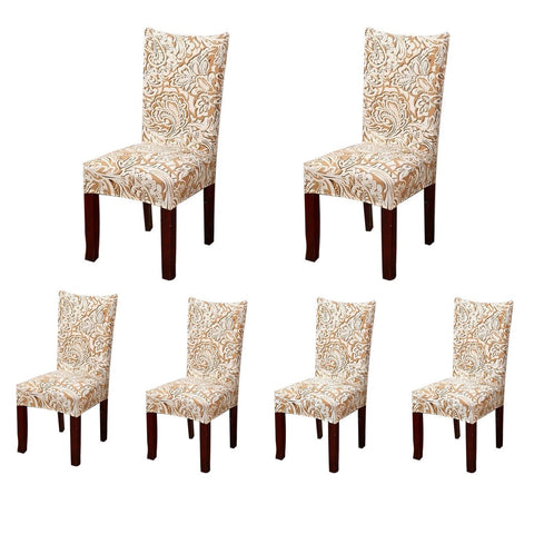SoulFeel 6 x Soft Spandex Fit Stretch Short Dining Room Chair Covers with Printed Pattern, Banquet Chair Seat Protector Slipcover for Home Party Hotel Wedding Ceremony (Style 2) Style 2 Pack of 6