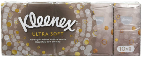 Kleenex Ultra Soft & Strong Facial Tissues, Pocket Pack, 9 ct, 10 Pack