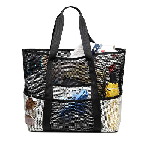 Kabden Beach Mesh Tote Bags Heavy Duty Bag with Pockets Travel Totes for Women Men Handles Oversized Carry Toy Totes Durable Shopping Groceries white
