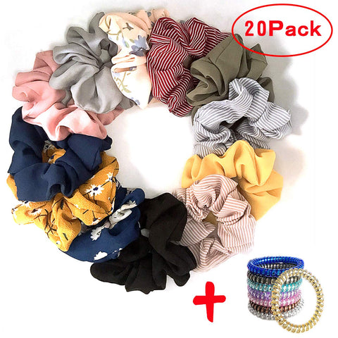 20 Pcs Colors Women's Multifunction Hair Scrunchies,Including 6 Colors Chiffon Flower Hair Scrunchies,6 Solid Colors Chiffon Hair Ties and 8 Colors Spiral Fluorescent Series Telephone Hair Ties