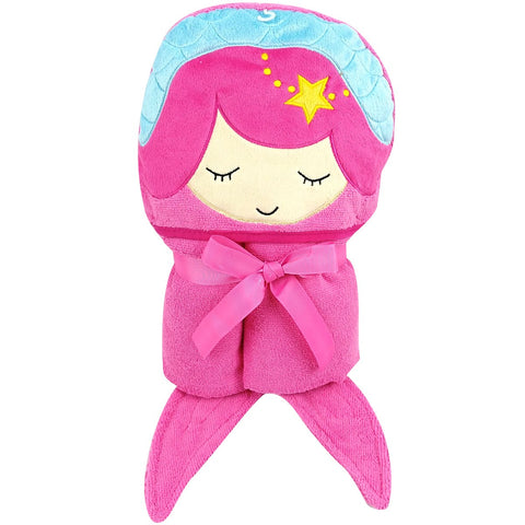"Kids- Large Pink Mermaid Hooded Bath Towel for Girls with Fun Fish Tails and Star- 30"" x 50"" (Mermaid)"