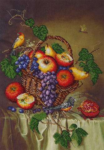 Still Life with Birds Beads embroidery kit; contemporary embroidery; gift idea; needlepoint design; decor; seed beads Preciosa;