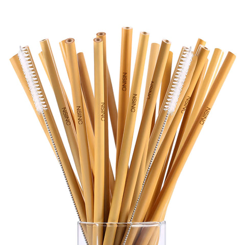 NSinc 24 Natural Bamboo Drinking Straws Eco-Friendly Straws Reusable Alternative to Plastic & Metal Drinking Straws Great for Kids and Adults Biodegradable Straws 2 Cleaning Brushes