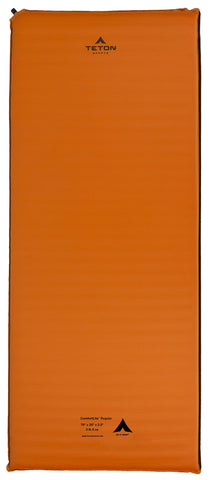 TETON Sports ComfortLite Self-Inflating Camp Pad; Lightweight Foam Sleeping Pad for Camping; Get a Relaxing Night's Sleep After Hiking All Day; Self Inflates in One Twist of the Valve 75x24x2 Inches / Regular Orange