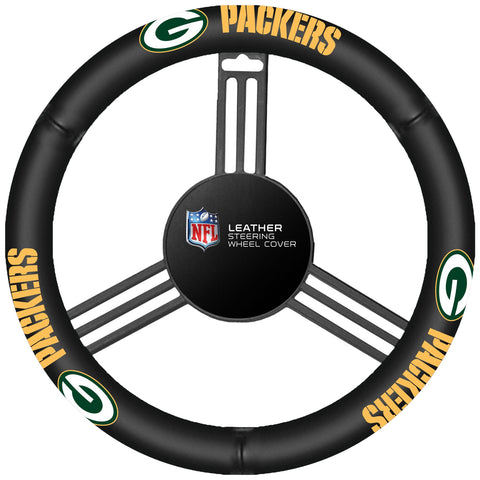 NFL Leather Steering Wheel Cover Green Bay Packers