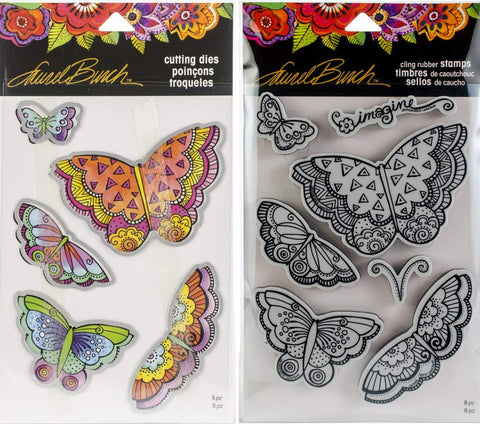 Stampendous Laurel Burch Cling Stamp and Die - Imagine Butterflies - 2 Item Bundle