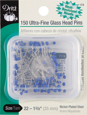Dritz 172 Glass Head Pins, Ultra Fine, 1-3/8-Inch (150-Count) 150-Count