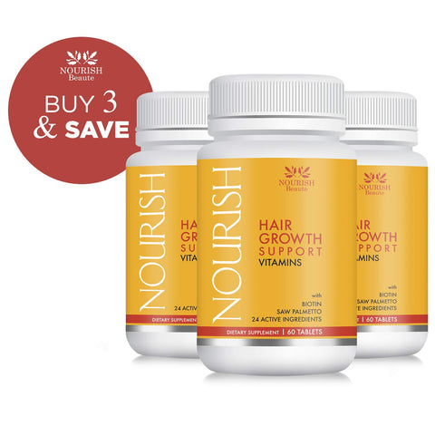 Nourish Beaute Hair Growth Vitamins - With Biotin and DHT Blockers for Hair Regrowth and Thickening, Nutraceutical Grade Hair Loss Supplement, Fast Hair Loss Treatment for Men and Women, 3 Pack 3 Bottles - ON SALE