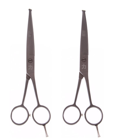 ShearsDirect STR and CRV Ball Tip Shears (Set of 2) Matted Gun Metal 6.5""